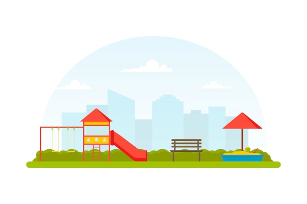 Детская площадка. место для детских подвижных игр. парк с скамейкой, качелями, горкой и песочницей. вид на город. плоский ,