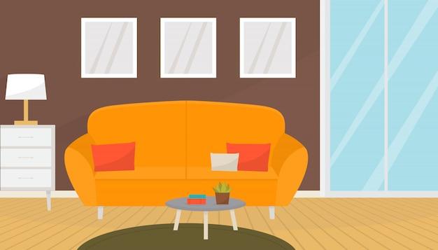 Современный интерьер гостиной с уютным диваном и журнальным столиком.