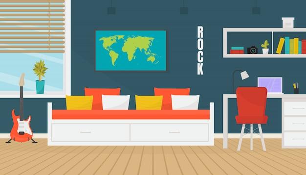 Современный дизайн интерьера комнаты подростка с модным рабочим пространством с ноутбуком.