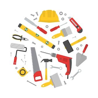Набор различных рабочих инструментов в форме круга.