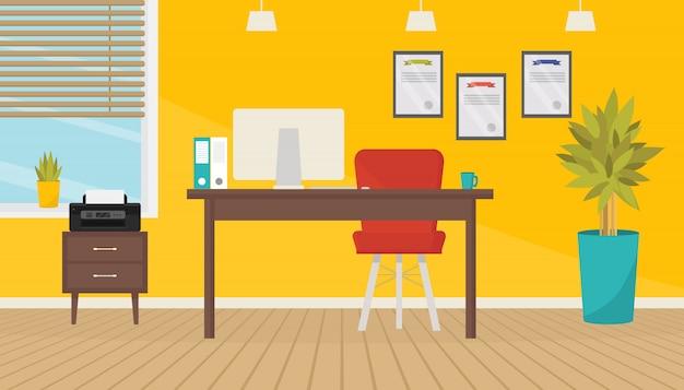 Современный интерьер комнаты офиса с мебелью и оборудованием.