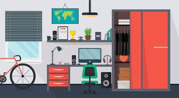 Прохладный современный интерьер комнаты подростка со столом, стулом, шкафом, компьютером, велосипедом, лампой, книгами и окном в плоском стиле.