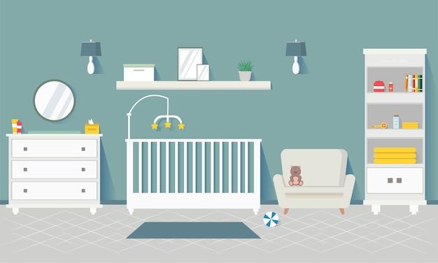 家具付きのベビールーム。保育園のインテリアスタイリッシュなインテリア。子供部屋生まれたばかりの男の子のためのアパートデザイン。