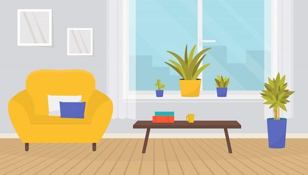 Стильный интерьер гостиной с мебелью.