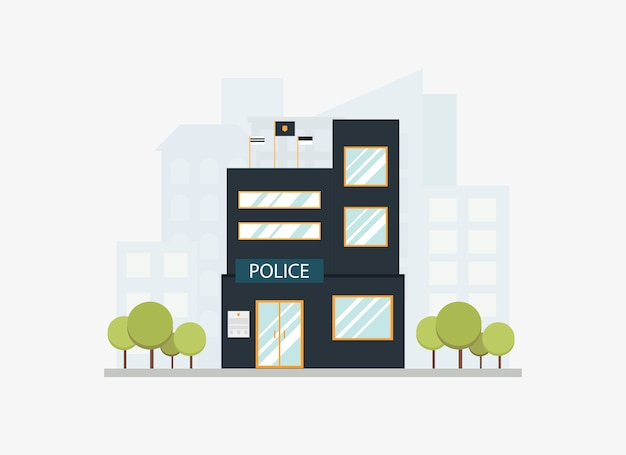 フラットスタイルの街のスカイラインを持つ近代的な市警察署部ビル。