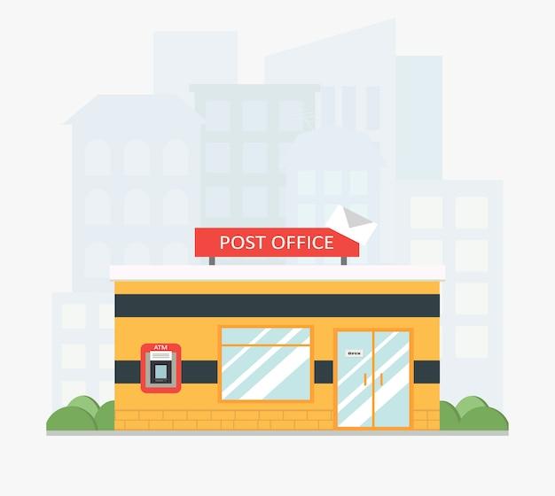 Желтое здание почтового отделения с городской пейзаж в плоском стиле.