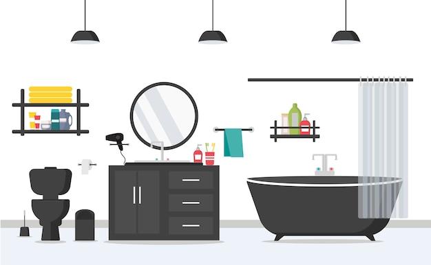 フラットスタイルの家具とモダンなバスルームのインテリア。お風呂、洗面台、トイレ、鏡。朝のルーチンルーム。