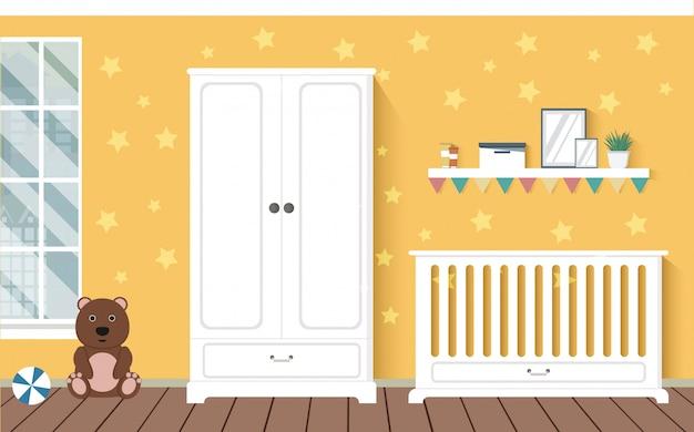 家具付きの明るいオレンジ色のベビールーム。保育園のインテリア。スタイリッシュなインテリア。子供の部屋。