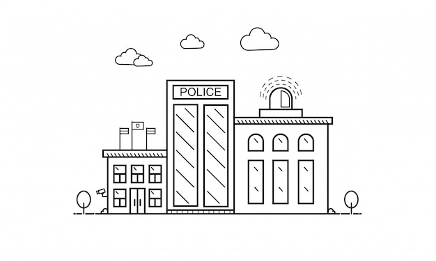 Концепция здания отделения полиции в плоской линии