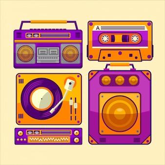 Винтажный музыкальный плеер иллюстрация