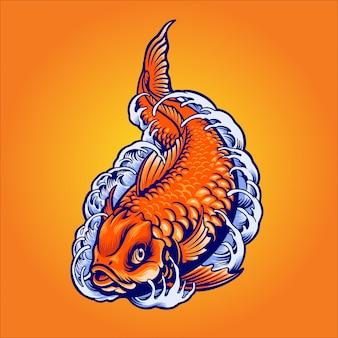 Японская золотая рыба иллюстрация