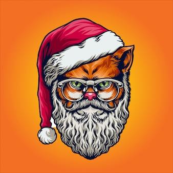 クリスマスの日のサンタクロースの猫キャラクター