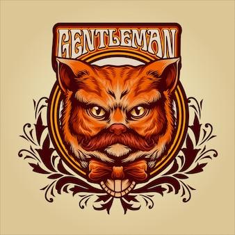 紳士オレンジ猫ビンテージイラスト