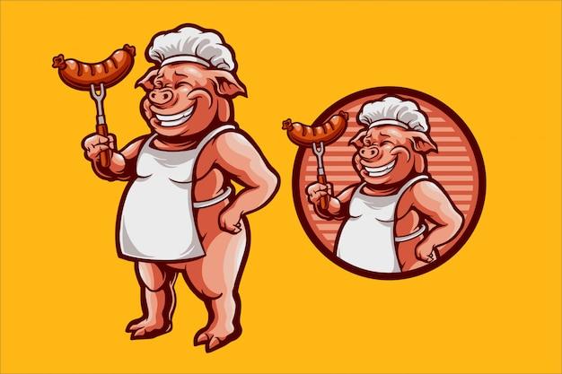 Свинья шеф-повар иллюстрация