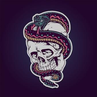 頭蓋骨と蛇