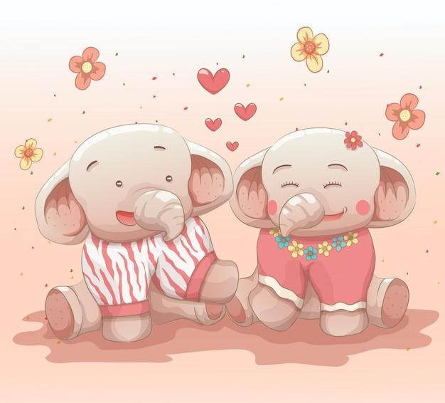 かわいい象のカップルはお互いを愛して