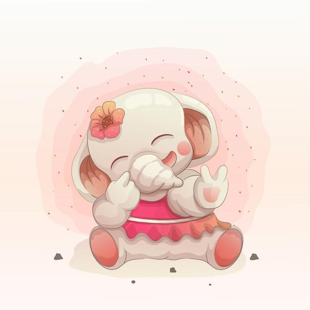 Милый счастливый слоненок