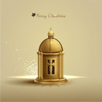 キリスト教の挨拶クリスマス背景カード。ビクトリア朝の装飾品と黄金の教会のランタン。