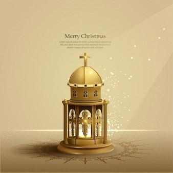 黄金の教会のランタンとクリスマスカードの背景