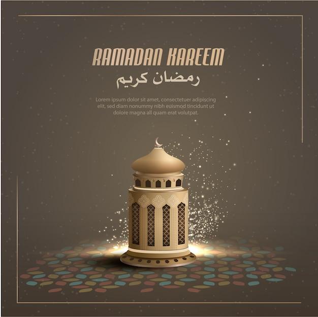 Исламская открытка дизайн фон с золотым фонарем