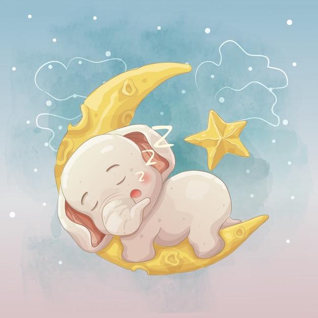 三日月で寝ているゾウの赤ちゃん。ベクトル手描き漫画アート