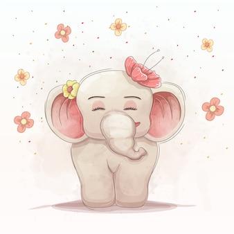Милый слоненок с красивыми цветами