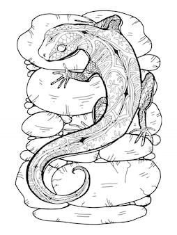 着色のページを描くトカゲ
