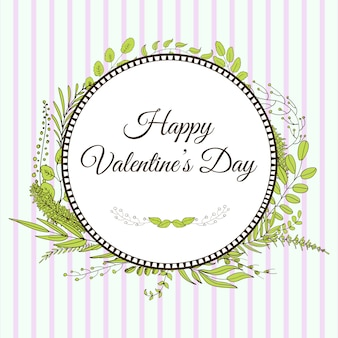 幸せなバレンタインデー。葉とブランチのカード
