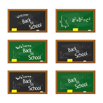 Иллюстрация зеленой и черной плоской школьной доски с деревянной рамкой.