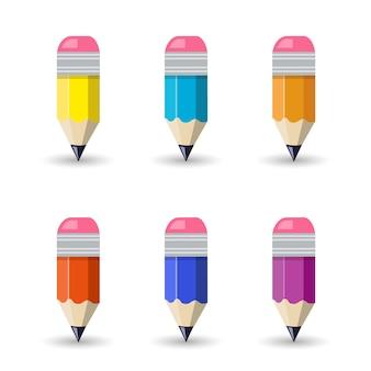 フラットスタイルのデザインのかわいい鉛筆テンプレート。