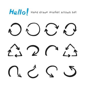 マーカー矢印のセット。手描き落書き矢印とあなたのデザインのためのポインター