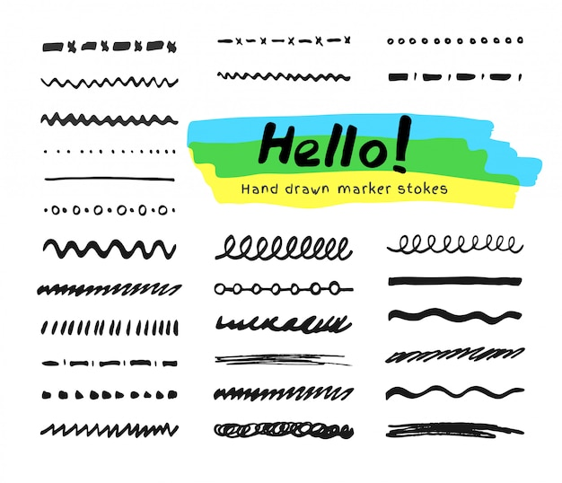 黒のフェルトペンペンストロークコレクション。テキスト選択用の手描きブラシ要素のセット
