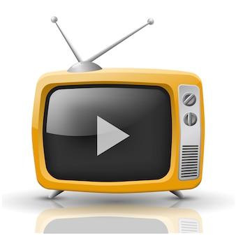 分離されたオレンジ色のテレビのベクトルイラスト