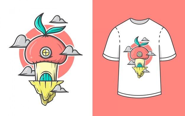 Симпатичная домик с грибами для дизайна футболки