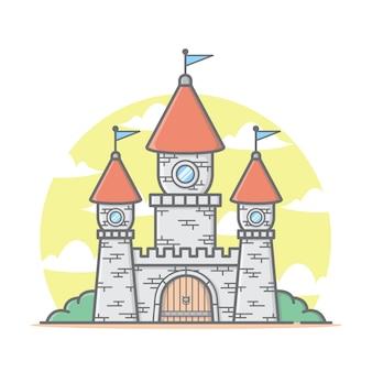 雲と空と城の家イラスト