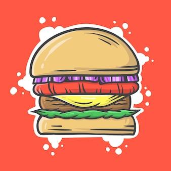 赤い背景のハンバーガー漫画イラスト