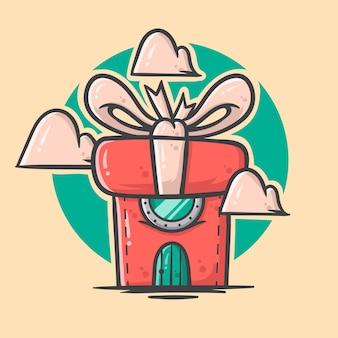 かわいい手描きクリスマスボックス家イラスト