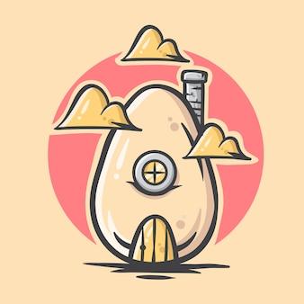 かわいい手描き卵家イラスト