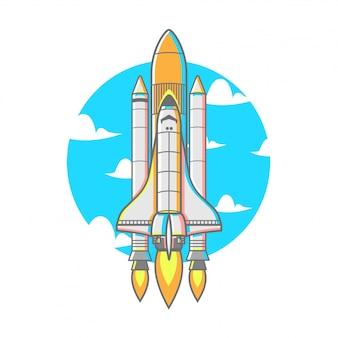 ブースターファイアー付き飛行ロケット