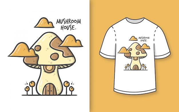 Премиум рисованной милый грибной дом иллюстрации для футболки