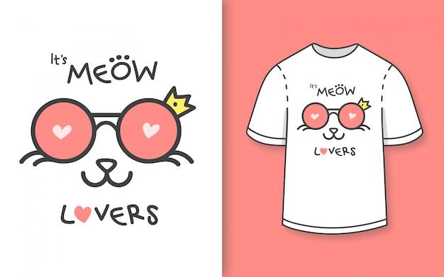Премиум рисованной милый кот любителей иллюстрации для футболки