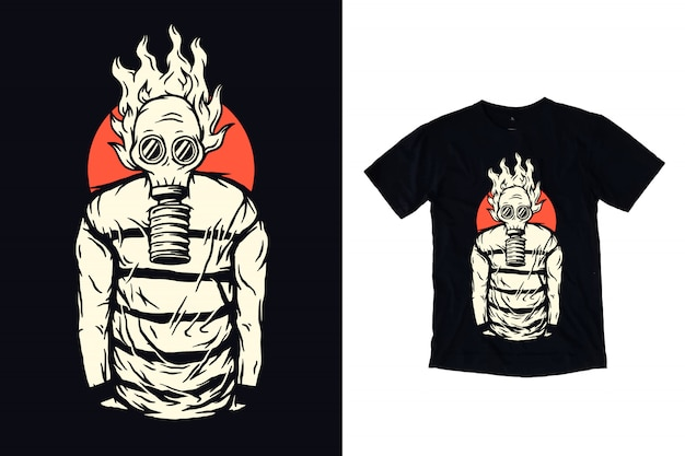 Человек с противогазом иллюстрации для дизайна футболки