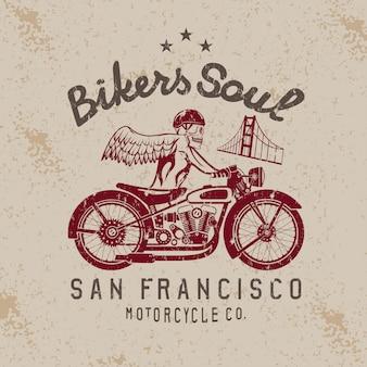 自転車とゴールデンゲートブリッジにヘルメットのスケルトン