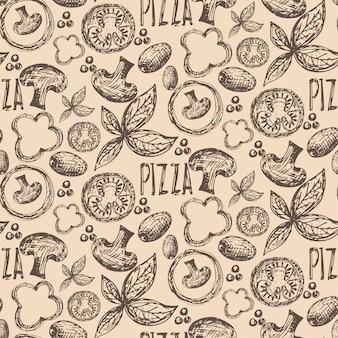 おいしいピザの食材のシームレスパターン