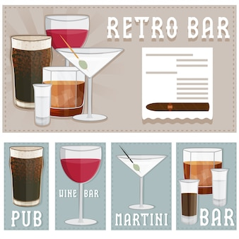 さまざまな飲み物のグラスとバーのレトロなポスター