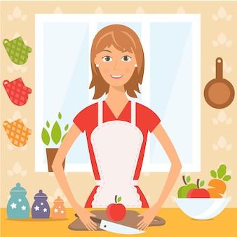 台所できれいな女性