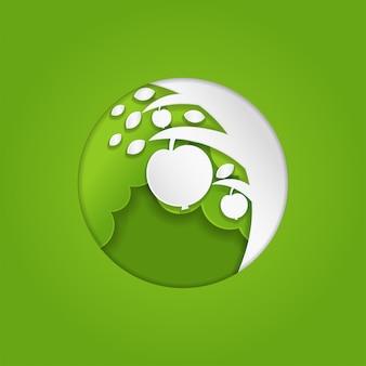 Бумага художественное яблоко на дереве концепции для логотипа