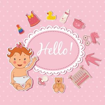 かわいい女の赤ちゃんこんにちはカード