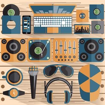 Плоский дизайн диджей и музыкальная тема