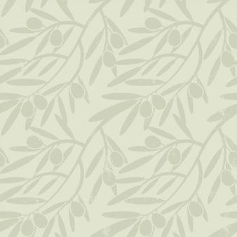 オリーブの枝とのシームレスなパターン。